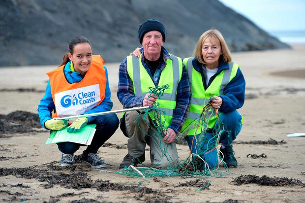 Marina Ruoff, Seamus O'Doherty and Jackie Perce, from Ballybunion, on the beach. Photo: Domnick Walsh