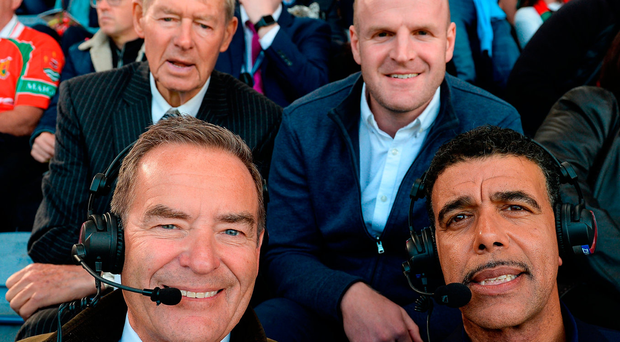 Jeff Stelling and Chris Kamara in their commentating position with the help of Mícheál Ó Muircheartaigh and our own Dick Clerkin. Photo: Sportsfile