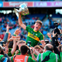 Kerry captain David Clifford celebrates with the Tom Markham Cup. Photo: Sportsfile