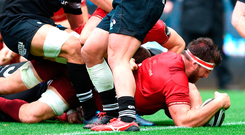 Jean Kleyn touches down for Munster's first try against Ospreys. Photo: Sportsfile