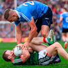 Eoghan O'Gara tackles Mayo's Colm Boyle at the end of yesterday's first half. Photo: Sportsfile