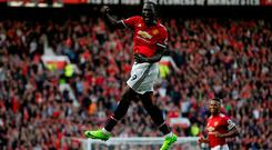 Romelu Lukaku celebrates after scoring Manchester United's third goal. Photo: Reuters/Andrew Yates