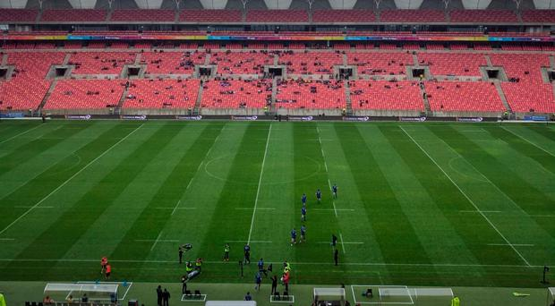 The near-empty Nelson Mandela Bay Stadium in Port Elizabeth in the minutes before Leinster's game against the Southern Kings. Photo: Sportsfile