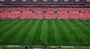 The near-empty Nelson Mandela Bay Stadium in Port Elizabeth in the minutes before Leinster's game against the Southern Kings last weekend. Photo: Sportsfile