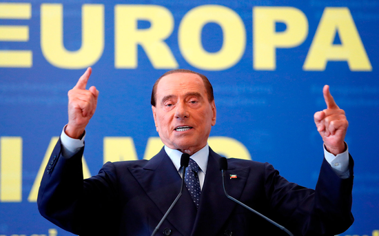Forza Italia leader Silvio Berlusconi addresses a meeting of the EPP European People's Party in Fiuggi, near Rome. Photo: Reuters