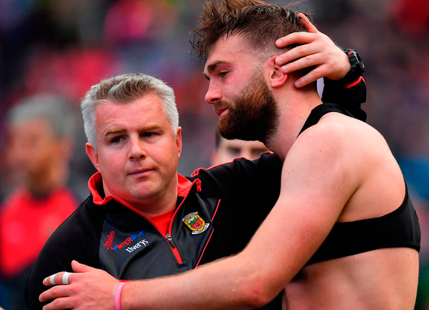 Mayo manager Stephen Rochford, left, with Aidan O'Shea after the GAA Football All-Ireland Senior Championship Final match between Dublin and Mayo at Croke Park in Dublin. Photo by Brendan Moran/Sportsfile