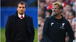 Brendan Rodgers (left) and Jurgen Klopp (right).