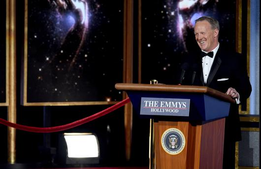 LOS ANGELES, CA - SEPTEMBER 17: Former White House Press Secretary Sean Spicer speaks onstage during the 69th Annual Primetime Emmy Awards at Microsoft Theater on September 17, 2017 in Los Angeles, California. (Photo by Kevin Winter/Getty Images)