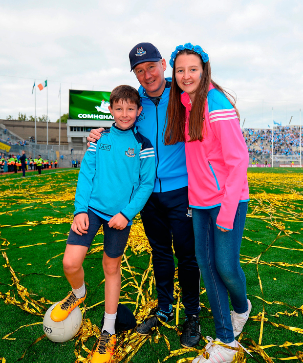 Dublin manager Jim Gavin with his children Jude and Jasmine after the win over Mayo