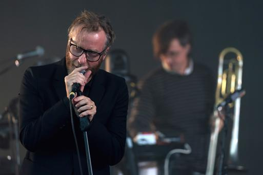 GLASTONBURY, ENGLAND - JUNE 24: Matt Berninger of The National performs on day 3 of the Glastonbury Festival 2017 at Worthy Farm, Pilton on June 24, 2017 in Glastonbury, England. (Photo by Ian Gavan/Getty Images)