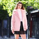 Pictured is Kelly H wearing Pink Faux Shearling Aviator Jacket €100, High Neck Ruffle Blouse €38, Stud Embroidered PU Skirt €45 at the AW17 photocall for the new V by Very Autumn Winter range, available exclusively to LittlewoodsIreland.ie - fashion for every side of your life! Photograph: Leon Farrell / Photocall Ireland