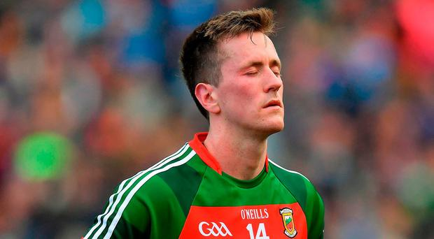 Cillian O'Connor of Mayo dejected after the GAA Football All-Ireland Senior Championship Final match between Dublin and Mayo at Croke Park in Dublin. Photo by Brendan Moran/Sportsfile