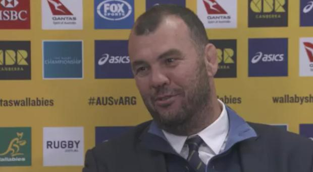 Michael Cheika reveals the source of his nose injury. CREDIT: WALLABIES YOUTUBE