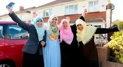 Sisters of Ibrahim Halawa celebrating the news of his acquittal on charges relating to mass protests in Cairo four years ago. l-r; Somaia, Fatima, Khadiza and Somaia. Ballycullen, Dublin. Picture: Caroline Quinn