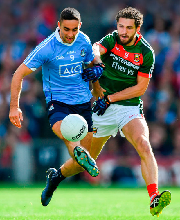 James McCarthy of Dublin in action against Tom Parsons of Mayo during the All-Ireland SFC Final at Croke Park on Sunday. Photo: Sportsfile
