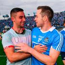 James McCarthy, left, and Dean Rock of Dublin following the GAA Football All-Ireland Senior Championship Final match between Dublin and Mayo at Croke Park in Dublin. Photo by Stephen McCarthy/Sportsfile