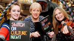 Minister Heather Humphreys, singer Katie Laffan, Altan singer and musician Mairéad Ní Mhaonaigh, and Maria Corcoran of Dublin Circus Project reminding people that Friday is Culture Night. Photo: Sasko Lazarov