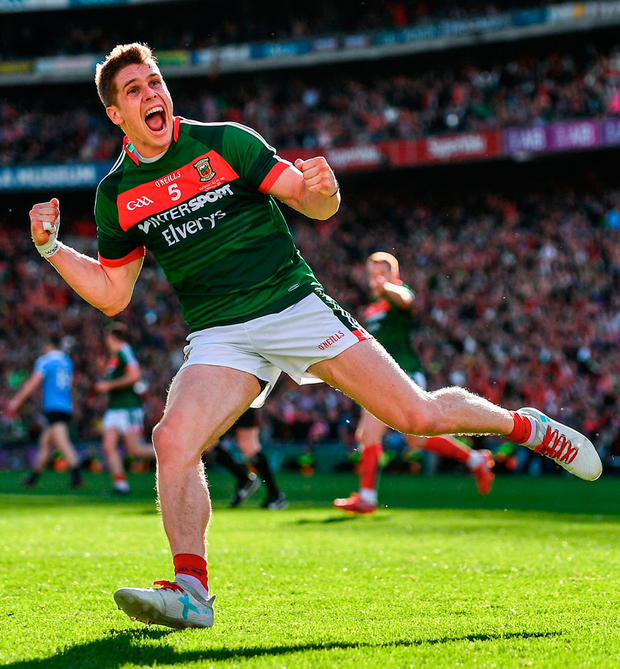 Lee Keegan of Mayo celebrates after scoring his side's first goal in the 54th minute during the GAA Football All-Ireland Senior Championship Final match between Dublin and Mayo at Croke Park in Dublin. Photo: Sportsfile