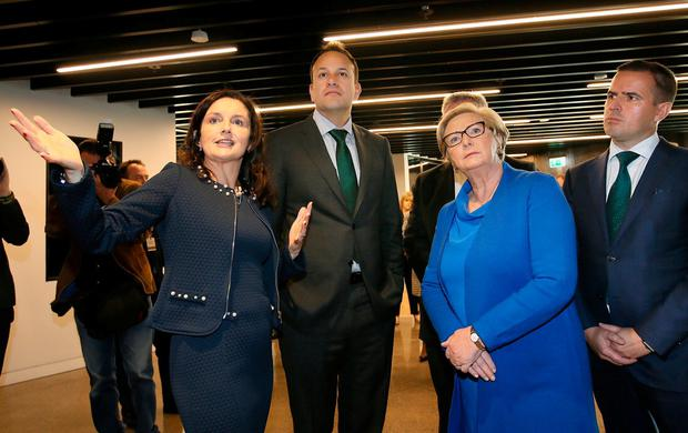 Taoiseach Leo Varadkar pictured with Sharon McCooey, head of LinkedIn Ireland, during the official opening of the LinkedIn EMEA HQ on Dublin's Wilton Place. Photo: Frank McGrath