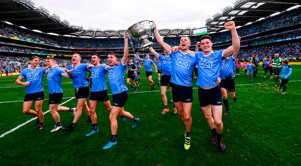 Diarmuid Connolly, Paul Mannion, Cormac Costello, Niall Scully, Ciaran Kilkenny, John Small and Mick Fitzsimons The Dublin players celebrate with the Sam Maguire after their All-Ireland final victory over Mayo. Photo: Sportsfile