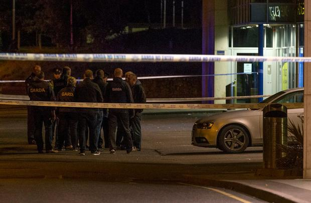 Gardaí at the scene of the shooting