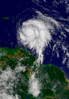 This image obtained from the NASA's GOES Project shows Hurricane Maria on September 18, 2017. Maria strengthened Monday as it moved towards the eastern Caribbean, a region already struggling to recover from Hurricane Irma. The US National Hurricane Center (NHC) said Maria had intensified to a Category Two storm as it approached the French territory of Guadeloupe, the base for relief operations for several islands hit by Irma this month. Photo: Getty Images