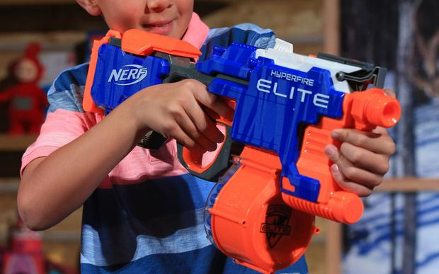 Doctors said protective eyewear should always be worn while playing with Nerfguns - including among adults Credit: PA