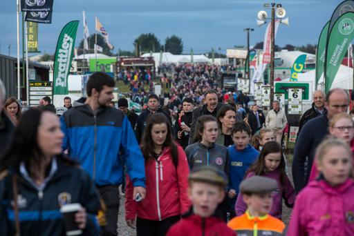 Crowds arrive for the opening day of the National Ploughing Championships in Screggan, Tullamore, Co Offaly. Pic:Mark Condren