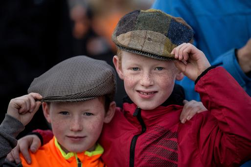 Brothers Ross (8) and Fiachra O'Dowd (10) from County Roscommon at the opening day of the National Ploughing Championships in Screggan, Tullamore, Co Offaly. Pic:Mark Condren 19.9.2017