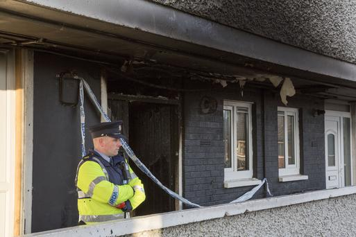 The scene of the fire at Tyrone Place Flats, Inchicore. PIC COLIN O'RIORDAN