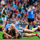 17 September 2017; Lee Keegan of Mayo tussles with Ciarán Kilkenny of Dublin after the match winning score by Dean Rock during the GAA Football All-Ireland Senior Championship Final match between Dublin and Mayo at Croke Park in Dublin. Photo by Ramsey Cardy/Sportsfile