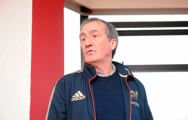22 February 2012; Munster media manager Pat Geraghty, makes the official announcement that Tony McGahan is to leave Munster Rugby at the end of this season, during a press conference ahead of their Celtic League game against Cardiff Blues on Friday. Munster Rugby Press Conference, University of Limerick, Limerick. Picture credit: Diarmuid Greene / SPORTSFILE