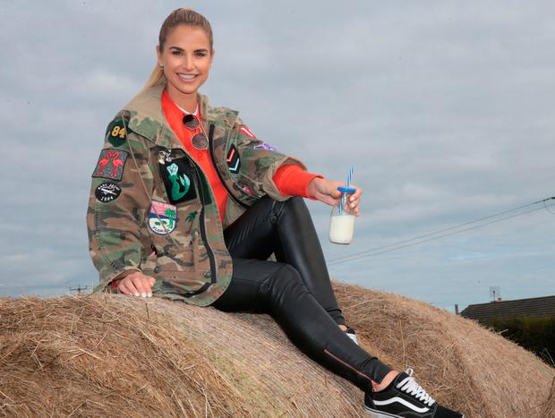 Vogue Williams at National Dairy Council tent at the National Ploughing Championships 2017 in Screggan Tullamore, Offaly. Picture: Brian McEvoy
