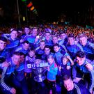 The Dublin players with the Sam Maguire Cup during the All-Ireland Senior Football Champions Homecoming at Smithfield Square in Dublin. Photo by David Fitzgerald/Sportsfile