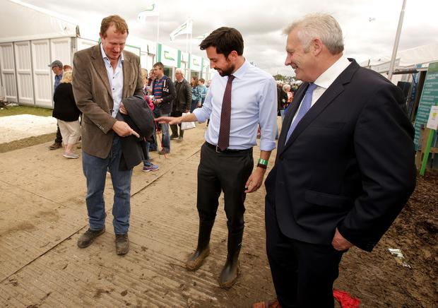 Fianna Fail TD Jim O'Callaghan jokes with Housing Minister Eoghan Murphy and Fergus O'Dowd TD at the Ploughing. Picture; Gerry Mooney