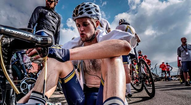 Aqua Blue's Conor Dunne after stage 14 of the Vuelta a Espana Photo: Karen M Edwards