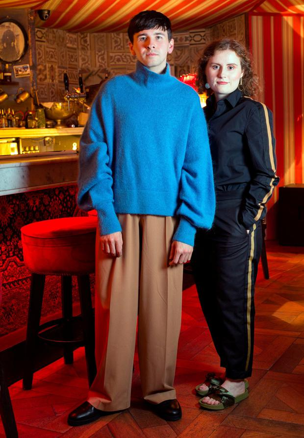 Alex Murphy and Meadhbh McGrath. 'Gender Neutral Dressing' feature shot in The Liquor Rooms. Photo: Tony Gavin