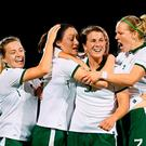 Republic of Ireland players, from left, Harriet Scott, Megan Campbell, Niamh Fahey and Diane Caldwell celebrate their first goal during the 2019 FIFA Women's World Cup Qualifier Group 3 match between Northern Ireland and Republic of Ireland at Mourneview Park in Lurgan, Co Armagh. Photo by Stephen McCarthy/Sportsfile