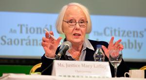 Justice Mary Laffoy at the Citizens' Assembly in The Grand Hotel, Malahide, in March. Photo: Tony Gavin