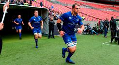 Rhys Ruddock leads the Leinster team out in front of a glut of empty seats for last Saturday's PRO14 clash with Southern Kings – a game which officially attracted a crowd of 3,000 to the Nelson Mandela Bay Stadium. Photo: Richard Huggard/Sportsfile