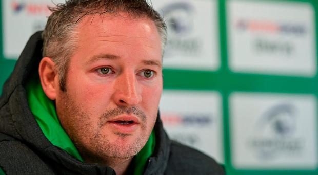 Connacht forwards coach Jimmy Duffy speaking during a press conference at the Sportsground in Galway. Photo: Seb Daly/Sportsfile