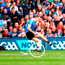 Mayo's Lee Keegan (l) throws his GPS unit (circled) at Dublin's Dean Rock