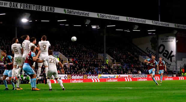 Robbie Brady scores Burnley's second goal from a free kick Photo: Reuters/Lee Smith