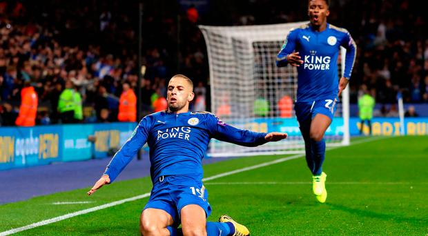 Islam Slimani of Leicester City celebrates scoring his side's second goal during their League Cup third-round clash Photo: Matthew Lewis/Getty Images