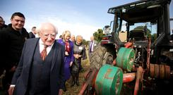 President Michael D. Higgins and his wife Sabina at the Ploughing. Picture; Gerry Mooney
