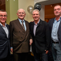 Broadcaster and journalist Jimmy 'The Memory Man' Magee with Sean McGoldrick, Sports Journalist, Sunday World, left, Eddie Rowley, Showbiz Correspondent, Sunday World, and Eamon Gibson, Sports Editor at Sunday World, at his 80th birthday party