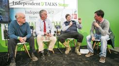 Robin Talbot,Beef Farmer ,Martin Coughlan, and Dawn Meats Paul Nolan Chatting with the Farming Independents John Fagan at the Ploughing Championships in Screggan Co Offaly