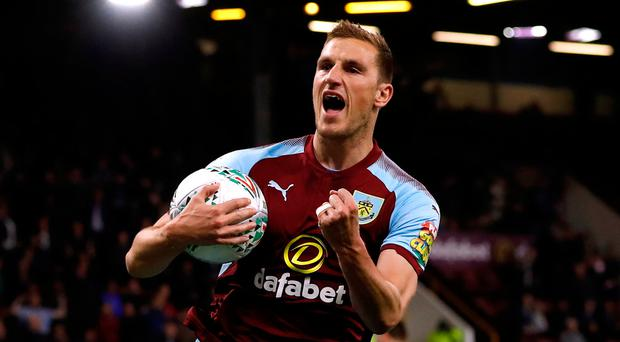 Burnley's Chris Wood celebrates scoring their first goal