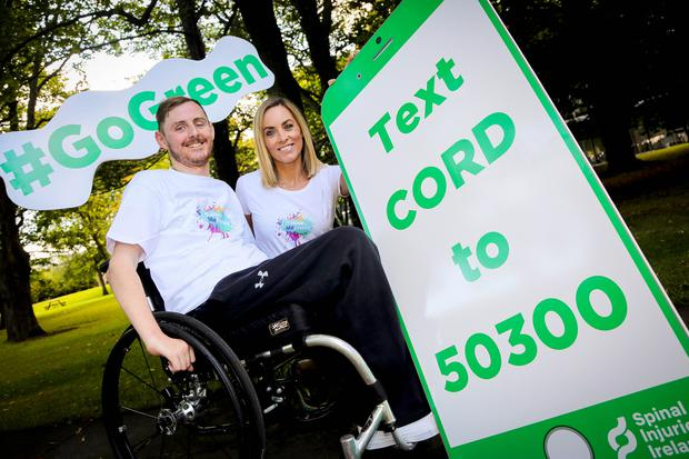 Coldplay hero Rob O'Byrne and RTÉs Kathryn Thomas join forces with Spinal Injuries ireland to raise funds for people living with spinal cord injuries. Photo - Aishling Conway