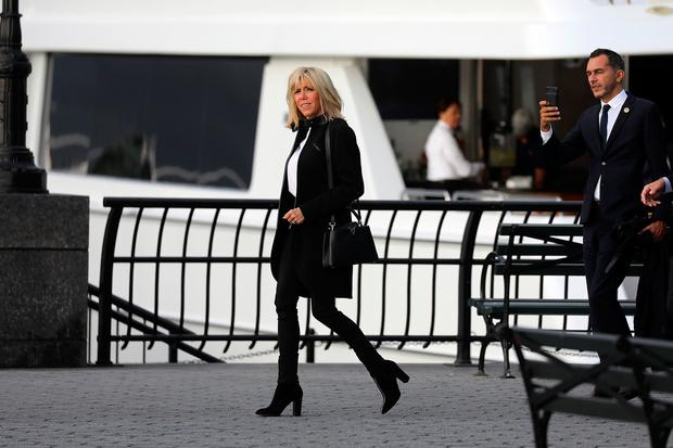 French First Lady Brigitte Macron Takes a Walk along the Hudson River